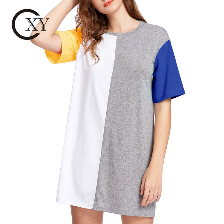 カスタマイズ女性カラーブロックカットアウトと縫うストレートミニティードレス