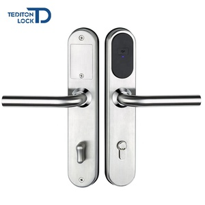 Dongguan electronic Smart RF card swipe door lock hotel room locks in stainless steel for hotel card key lock system