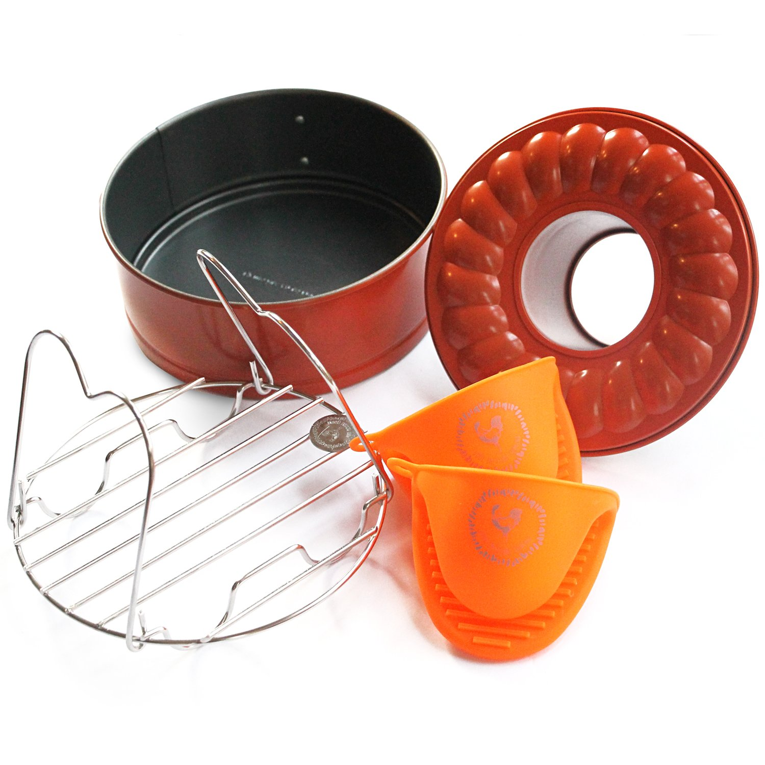 """Pressure Cooking Three Piece Bundle Set For Use With Pressure Cookers And Oven, Includes 7"""" Spring form Bundt Pan, Steamer Trivet, Silicone Mitt"""