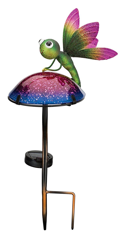 Regal Art & Gift 11797 Mushroom Critters Stake Solar Light Garden Decor, Dragonfly