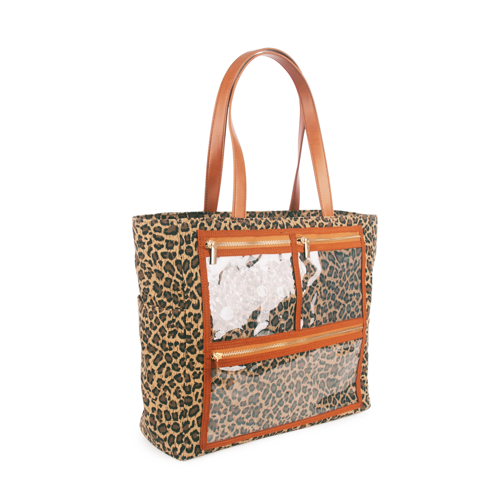 Wholesale Canvas Display Handbag PU Leopard Purse Show Off <strong>Totes</strong> With PVC Pockets In Front DOM-108576