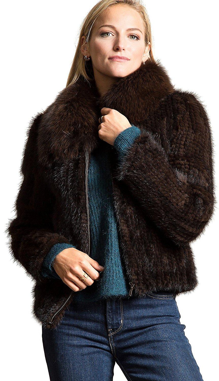 Overland Sheepskin Co Calliana Knitted Danish Mink Fur Jacket with Fox Fur Collar