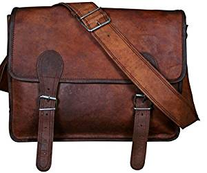 Phoenix Craft Men's Leather Messenger bag Crossbody Bag Travel Shoulder Satchel Laptop Macbook Bag 15x11x4 Inches Brown …