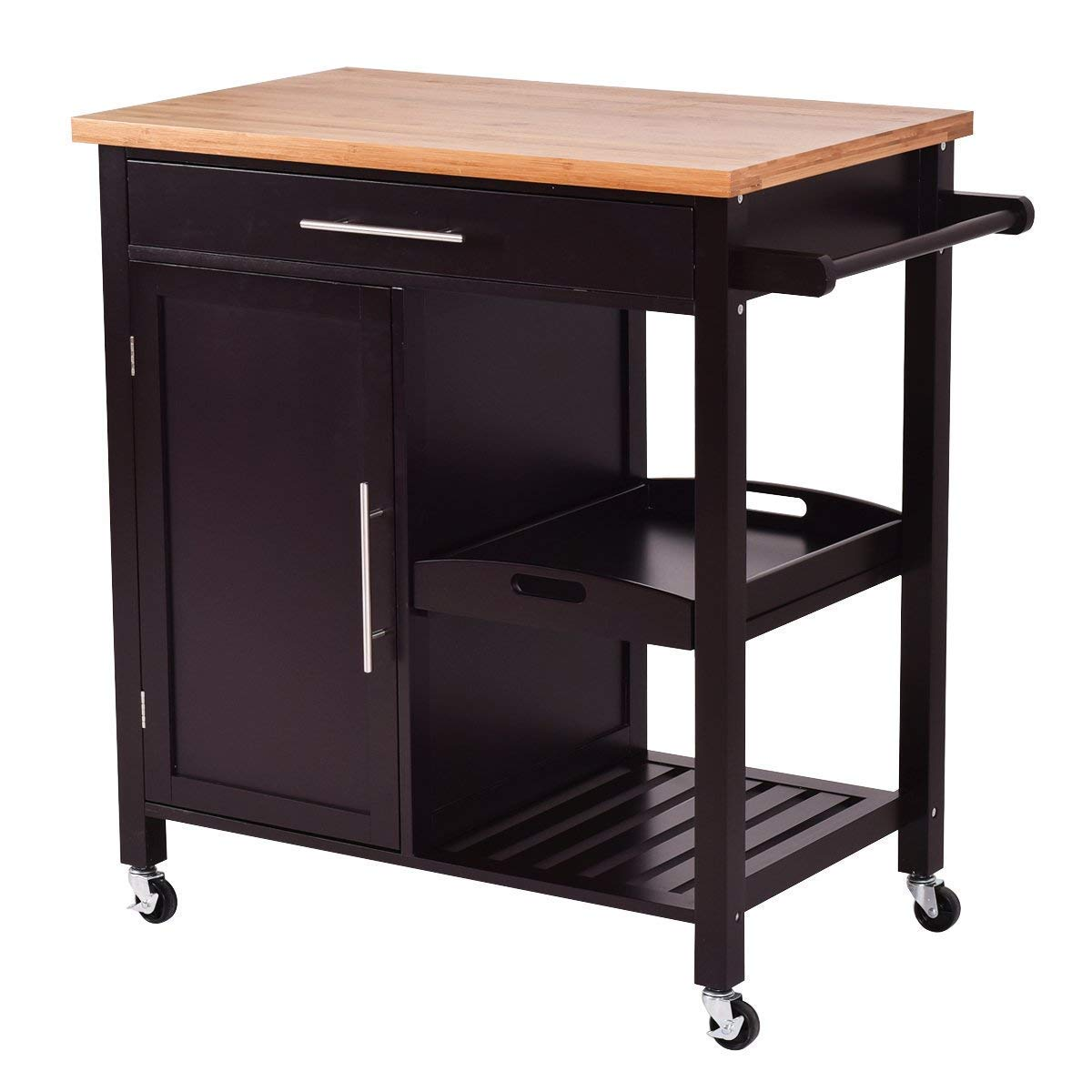 Get Quotations Giantex Kitchen Trolley Cart Wood Rolling Island Home Restaurant Dining Room Serving Utility