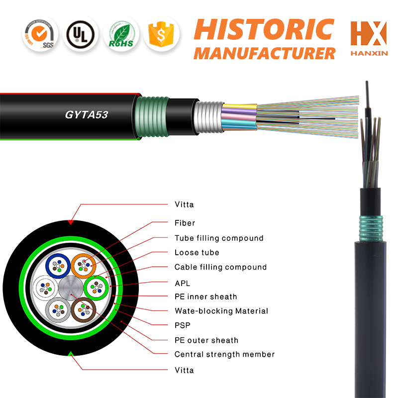 single mode optical fiber cable GYTA 53 armored loose tube optical fiber for lighting