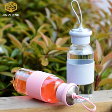 Car Shatterproof water glass bottle with Silicone Colorful Sleeve
