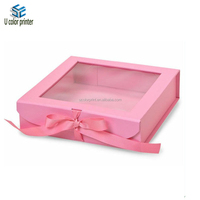 U color made ribbon tie clear see through window rigid gift box