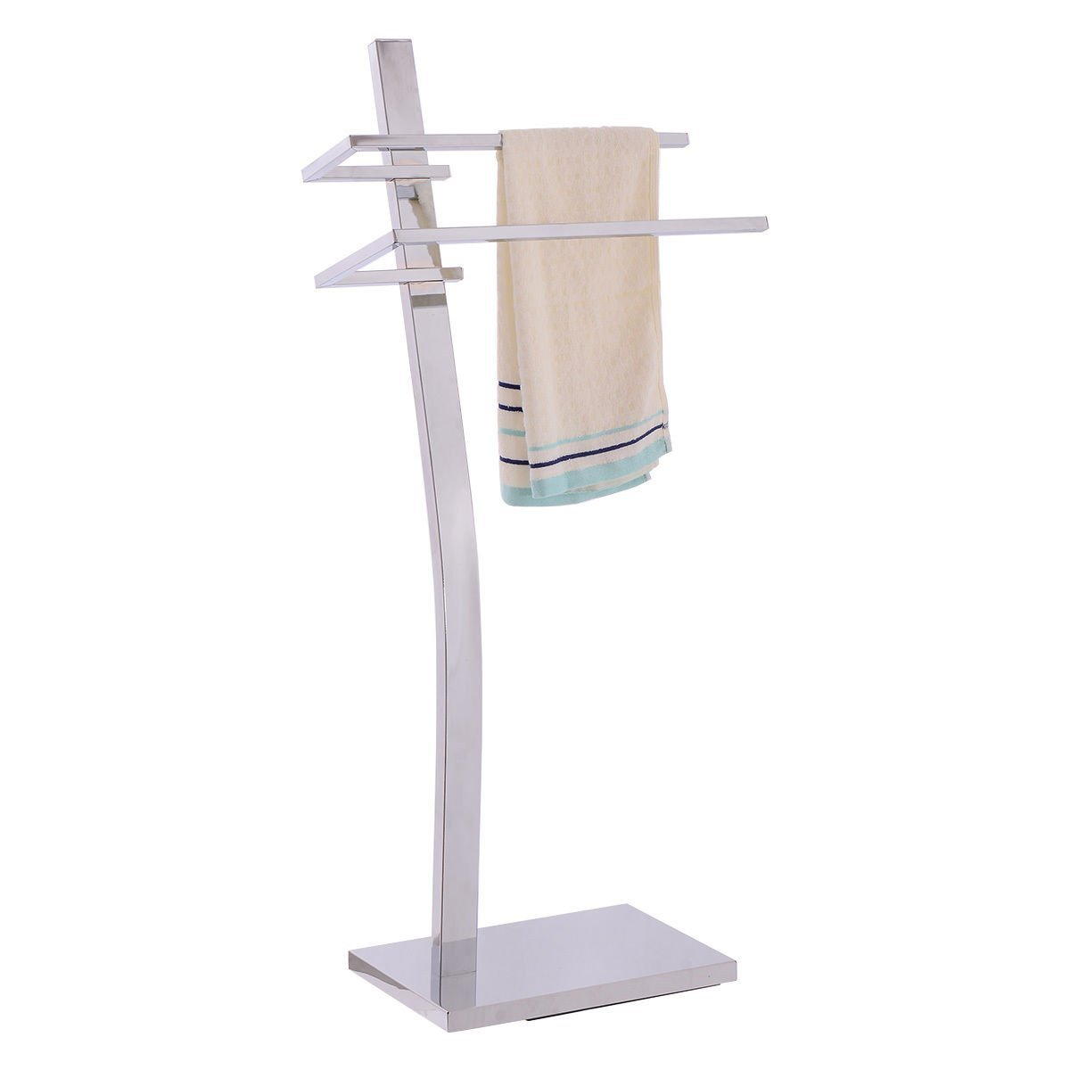 Get Quotations 2 Tier Free Standing Floor Towel Holder Contemporary Chromed Steel Bathroom For Hang Towels Easily And