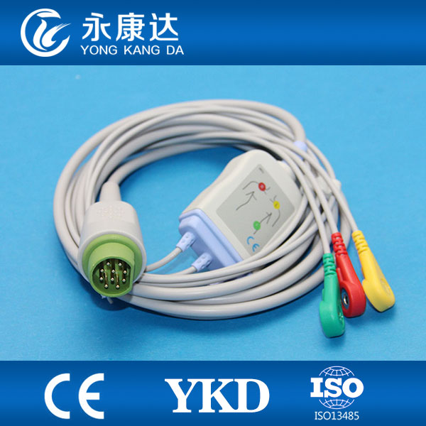 HOT!Drager/ 3 lead ecg cable with snap,IEC,8 months warranty,CE&ISO13485 proved