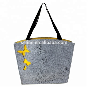 Fashion eco-friendly gray color black leather felt bag