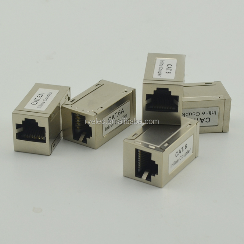 Keystone Jack cat6a network rj45 connector KJ6A 90 degree female STP 8p8c RJ45 inline coupler