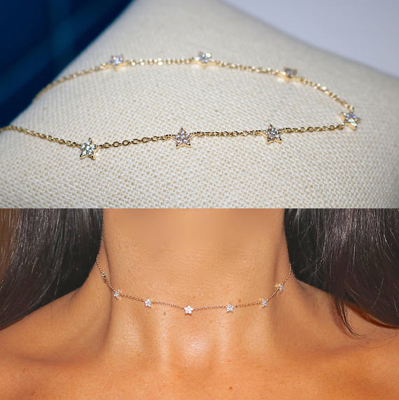 925 sterling silver delicate elegant women short choker chain micro pave tiny cz charm Gold chain necklace