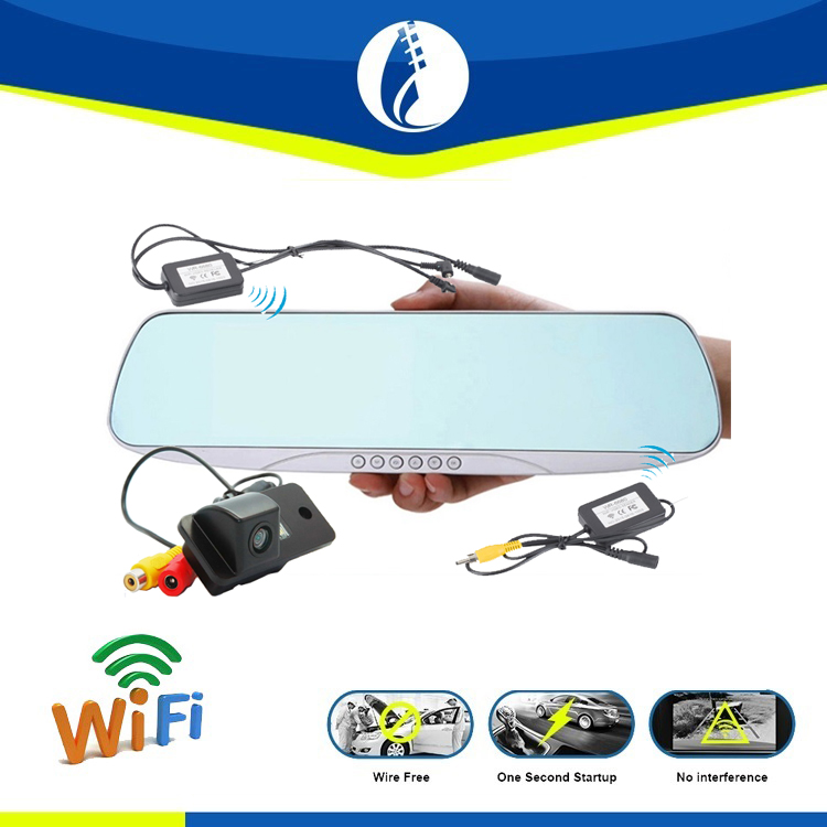 wireless wifi no interference 5.0 inch screen 1080P wifi automobile auto dimming rearview mirror radar detector car dvr
