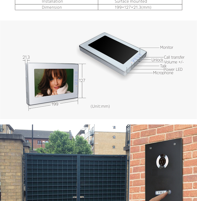 Stainless steel nameplate handsfree touch button 7 inch villa video door entry system two way twoway intercoms system