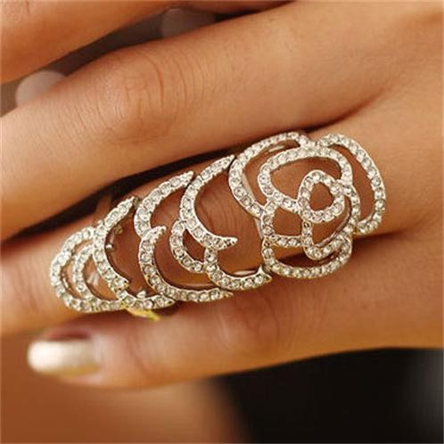 2014 New Fashion La s Finger Long Rings Latest Design Party Gold
