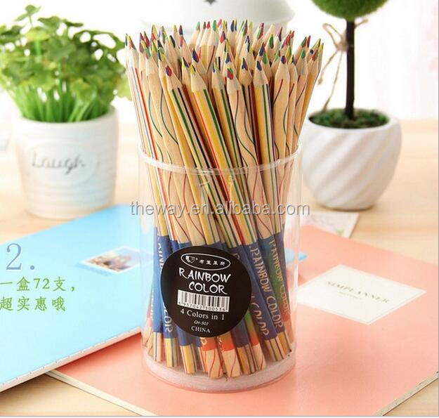 4 in 1 rainbow color pencils Rainbow pencil with 4color in one pen DIY educational pencil for students