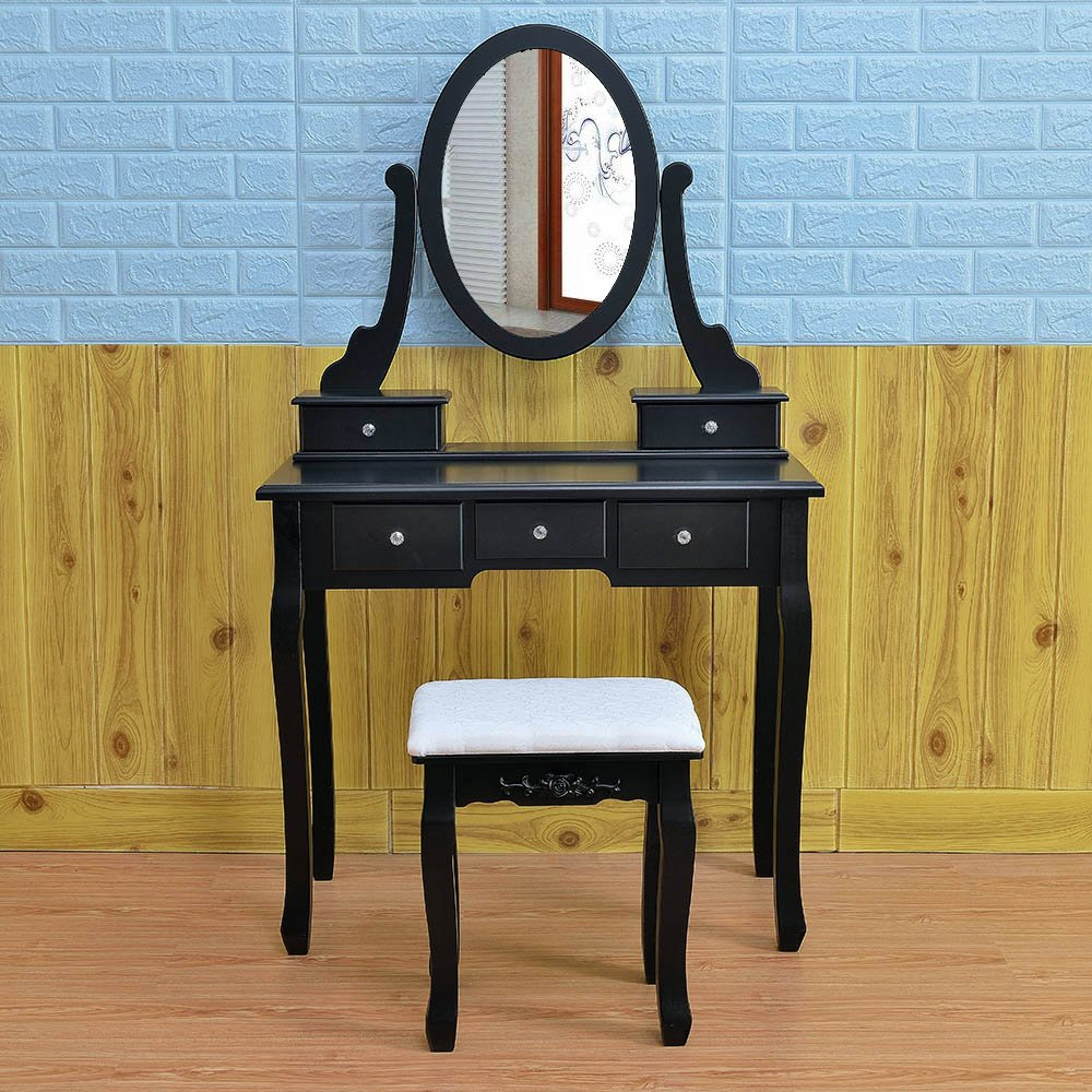 Get Quotations · Azadx Bedroom Dressing Table, Vanity Table With  360°Rotation Oval Mirror 5 Drawers And