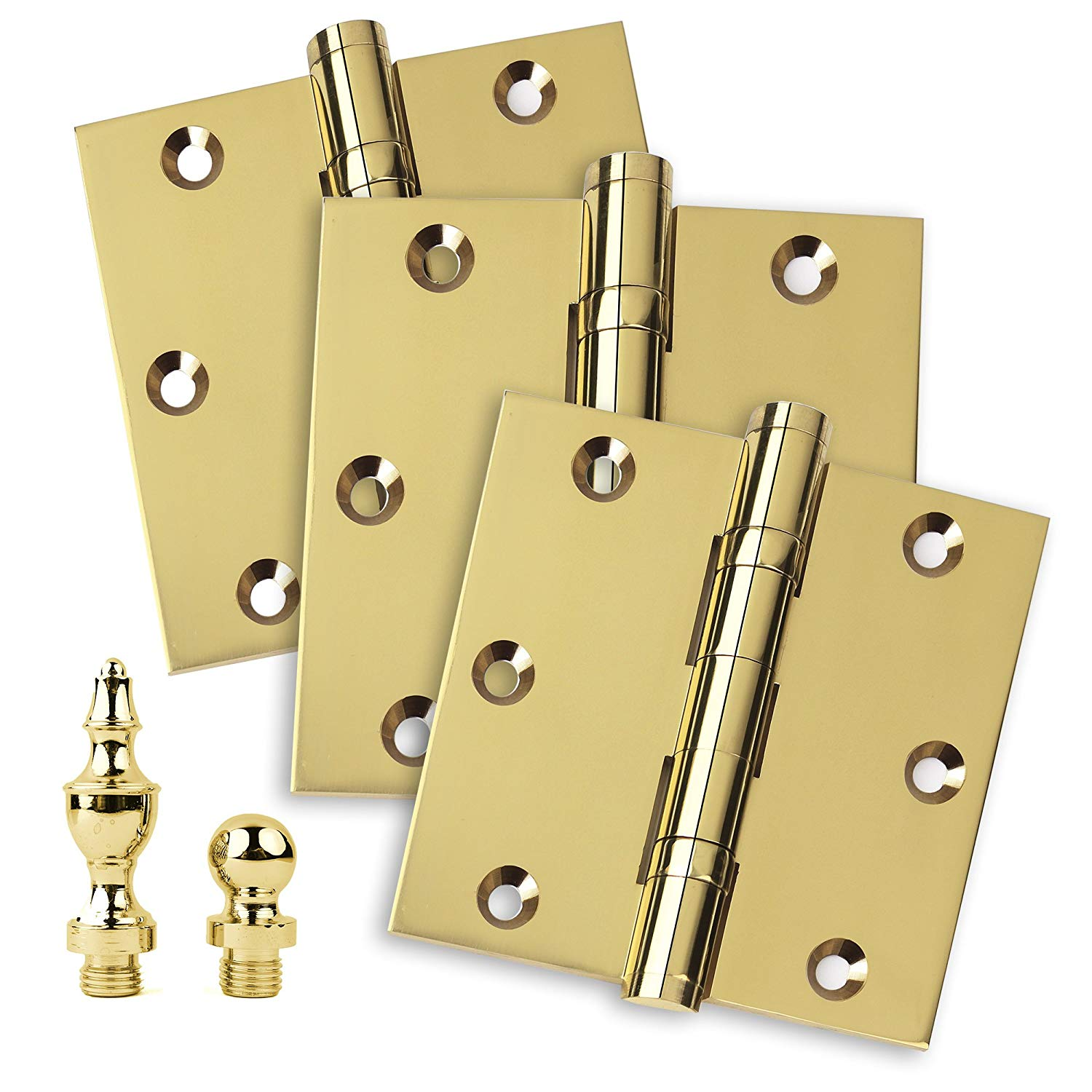 The Hillman Group 853000 2 x 1-3//8 Solid Brass Ball Tipped Hinge Bright Brass Finish 1-Pack