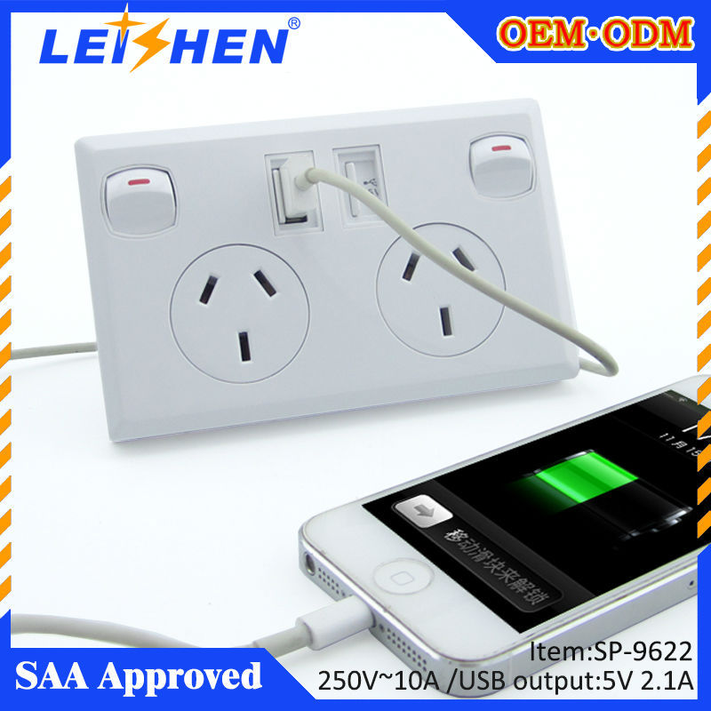 240v Australian type wall switch and socket with 2 usb ports