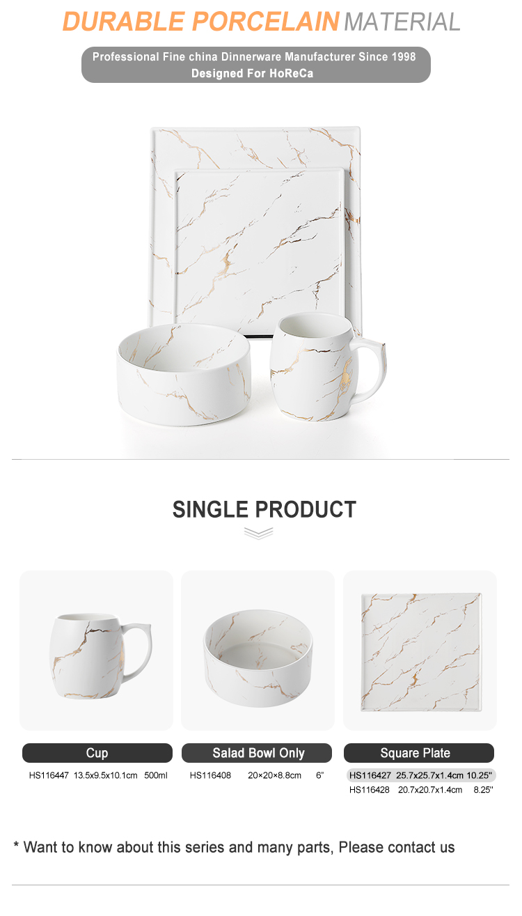 Wholesale Banquet Crokery Square Dinner Table Set, Wholesale Ceramic Event Dinner Set Marble^