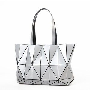 Women's Fashion Geometric Lattice Tote Glossy PU Leather Shoulder Bag Top-handle Handbags