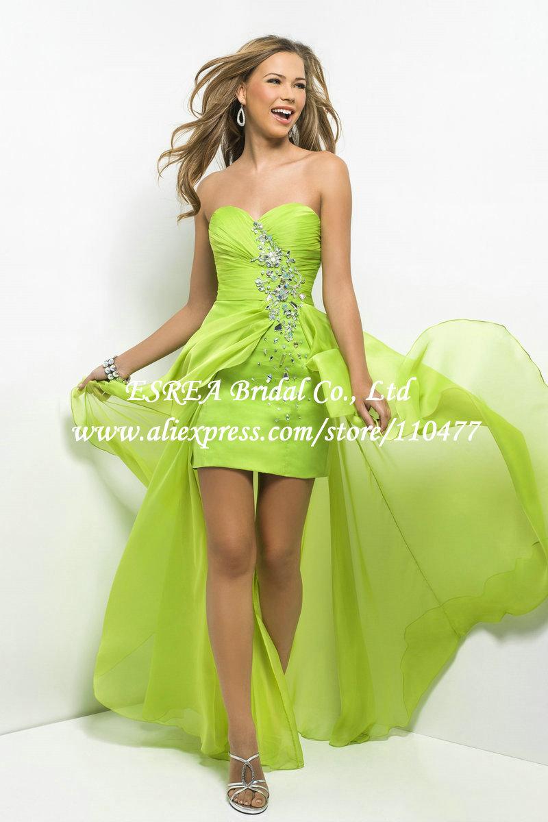 New-Stylish-Asymmetrical-Lime-Green-Evening-Dresses-2015 ...