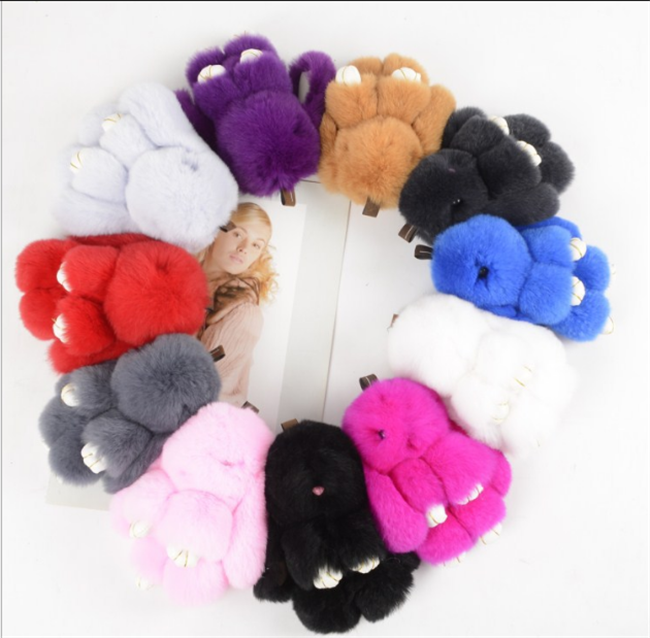 Real fox fur balls dyed color fur pom for bag keychain