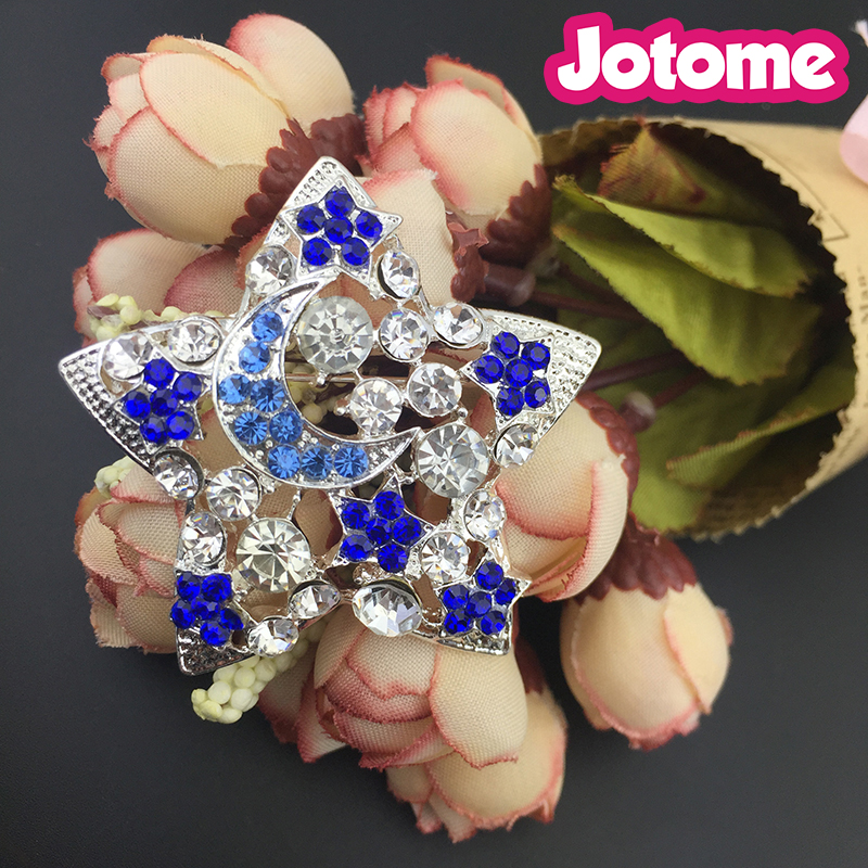 fashion cute star moon alloy crystal studded crystal brooch corsage pin women jewelry gifts