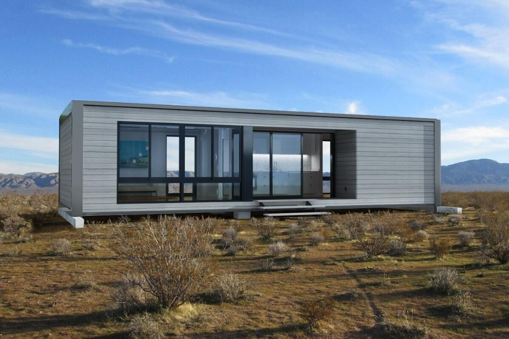 Shipping container glass house modular export tiny for Prefabricated shipping container homes