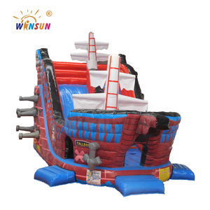 Giant inflatable warship bounce slide/pirate ship water slide pvc inflatable warship slide