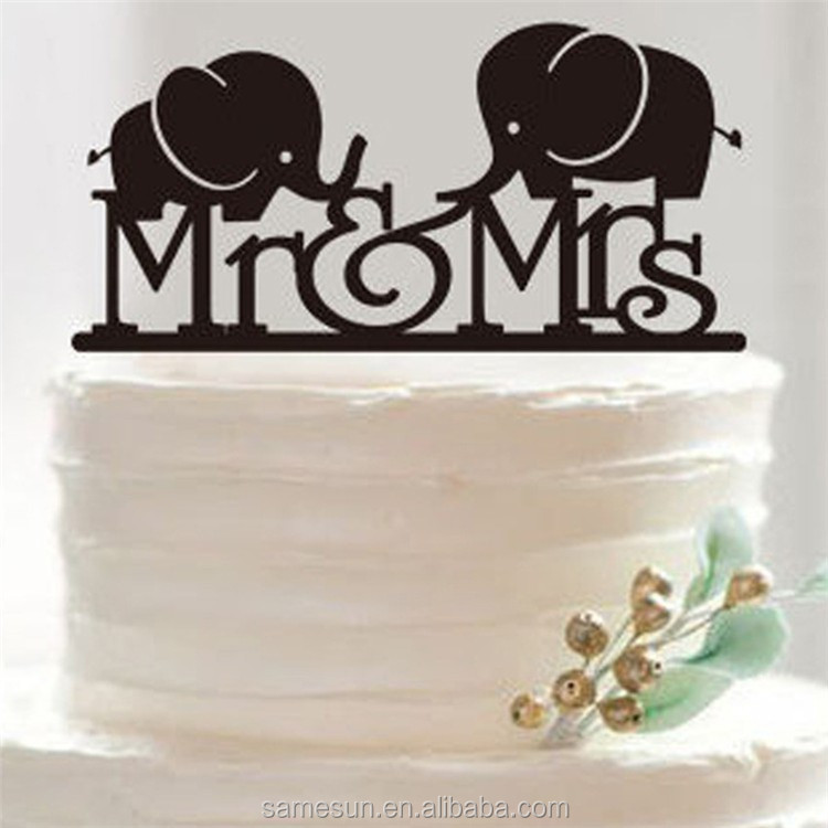 Custom Name Mr Mrs Stand Acrylic Sweet Heart Wedding Cake Topper