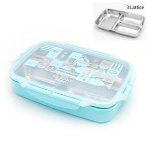 Hot Pot Lunch Box Rectangular Stainless Steel Thermos Kids Bento Box Inox with Compartment Pot Car Lunch Box