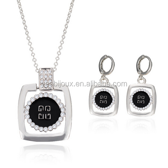 cameral style crystal square pendant necklace jewelry sets