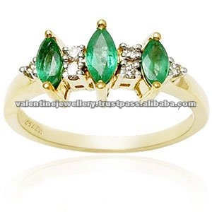 gold emerald rings, three stone rings