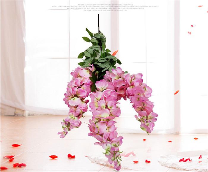 F-1395 Casamento Atacado Hanging Artificial Rosa Flor Glicínias Videira