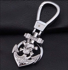 New men's metal Halloween skull bow anchor keychain