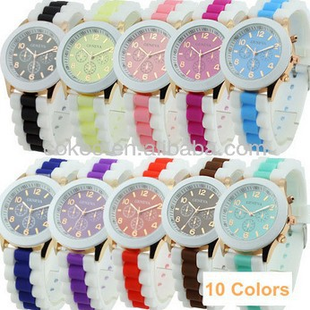 2014 New Fashion Designer Sports Geneva Watch brand silicone watch jelly watch 15 colors quartz watch for women men