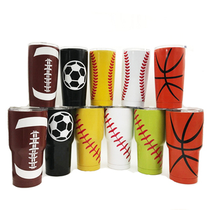 ZUOGE wholesale 30 oz stainless steel tumbler with lids baseball football  basketball pattern amazon top seller 2018