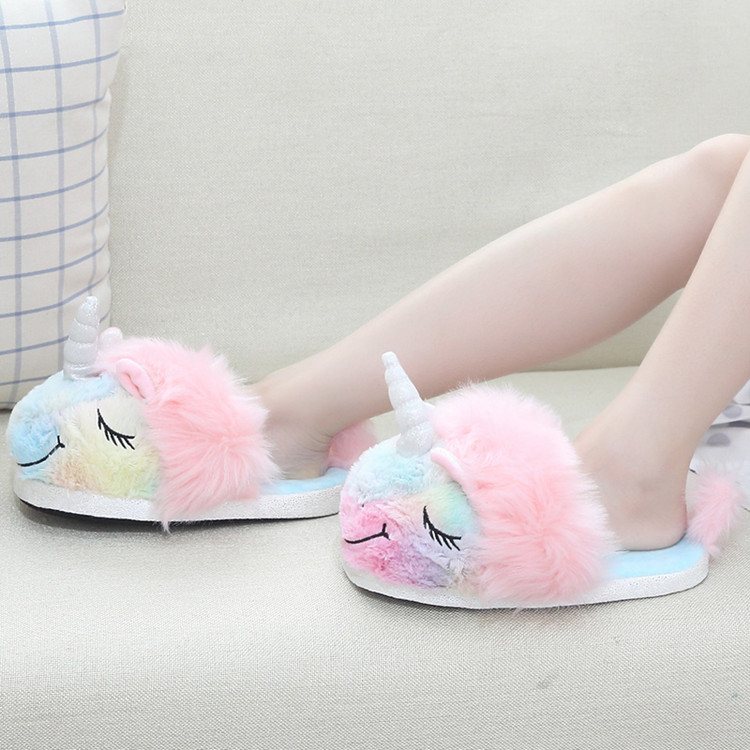 China Factory  Cheap Wholesale Plush Toys Cut Unicornio Indoor Unicorn Slipper