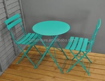 Turquoise Metal Garden Bistro Set For Two