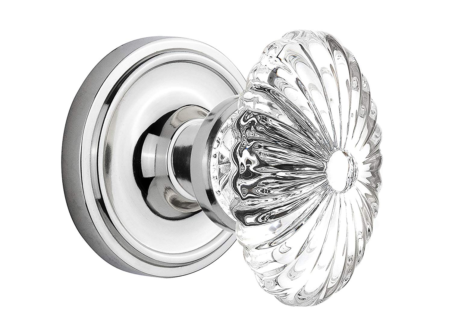 Nostalgic Warehouse Classic Rosette with Oval Fluted Crystal Glass Knob, Single Dummy, Bright Chrome