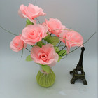 Rose 8 Heads Pink Import China Silk Rose Flower