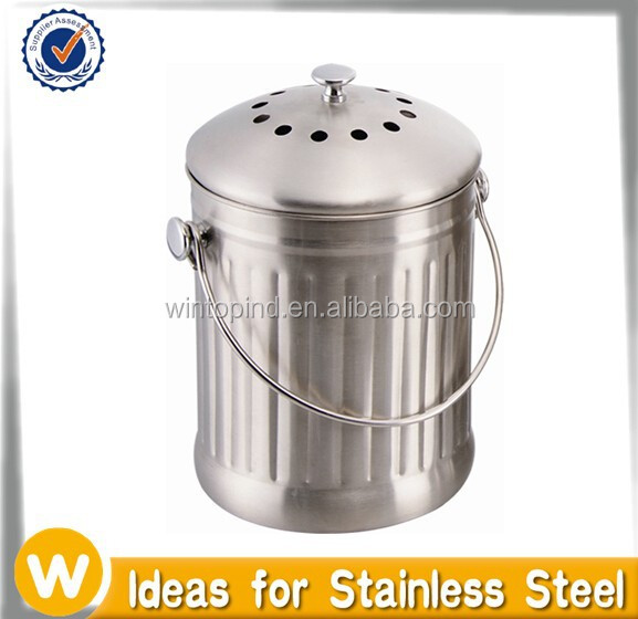 1.0 Gallon Stainless steel compost pail with Charcoal Filter