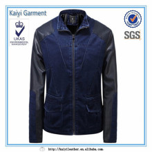 Fashion design leather sleeves blue denim mens denim jacket