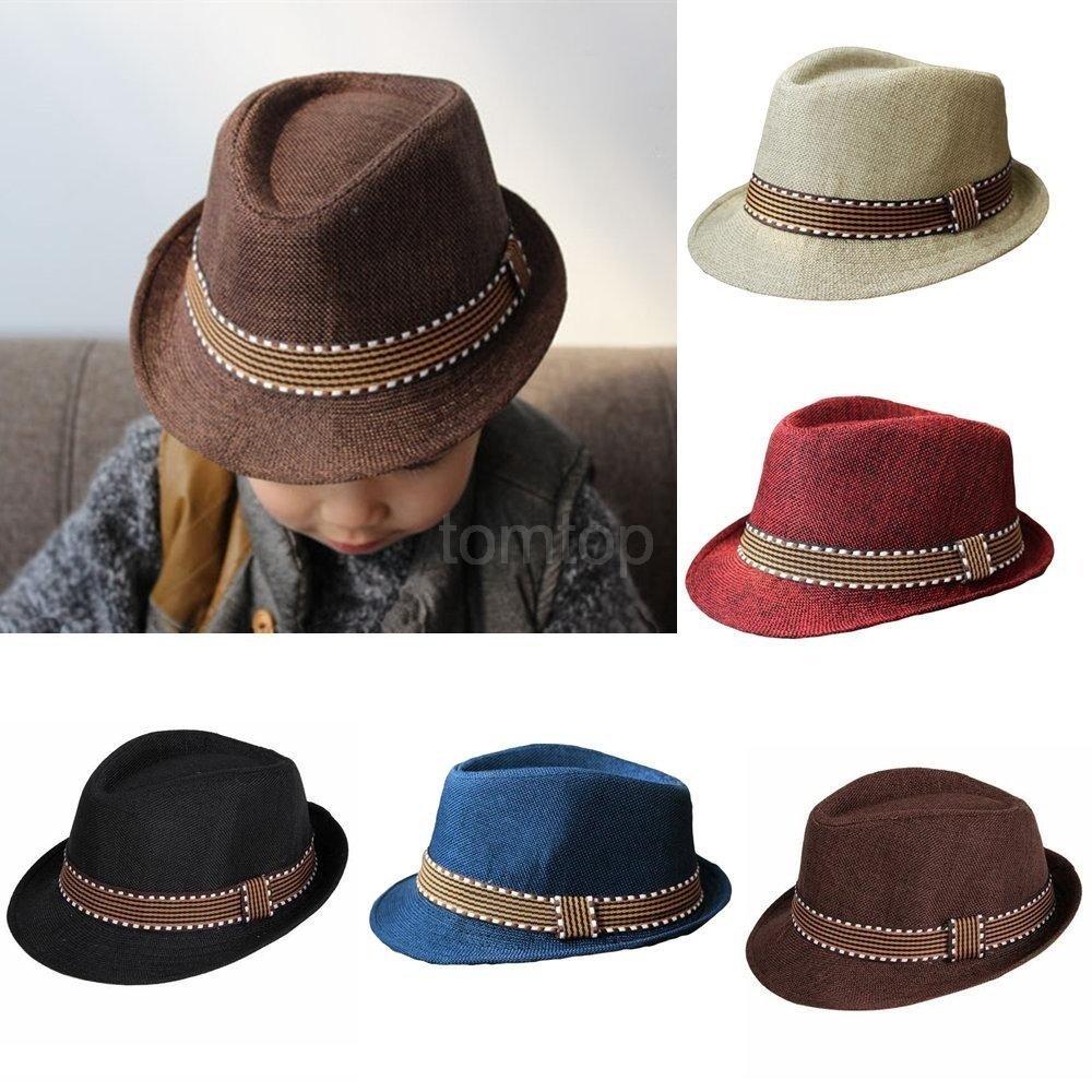 94d2cf8434d Get Quotations · Kenni New Fashion Kids Boy Girl Unisex Fedora Hat Contrast  Trim Cool Jazz Hat Trilby Cap