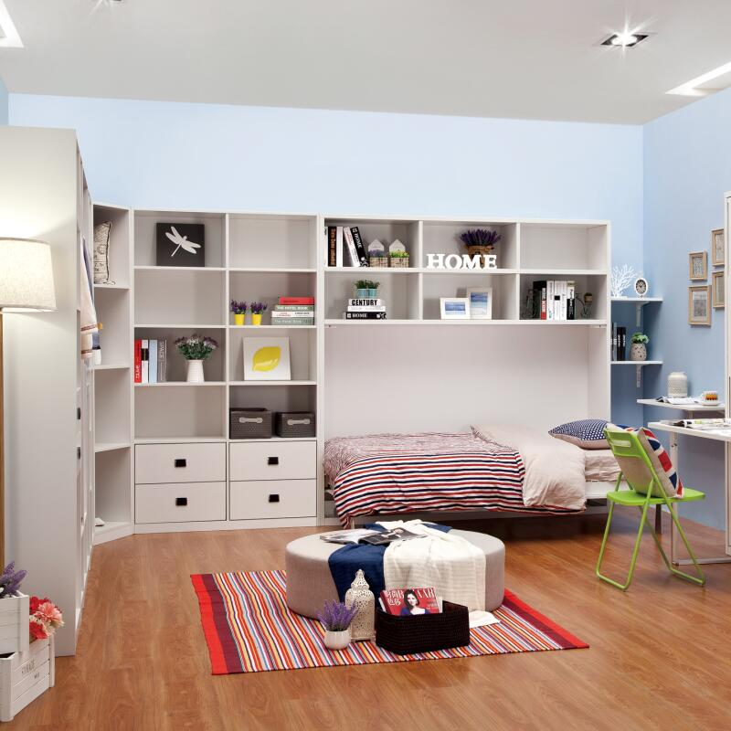 horizontal hidden beds with bookcase murphy bed hardware wall bed kits - Murphy Bed Kits
