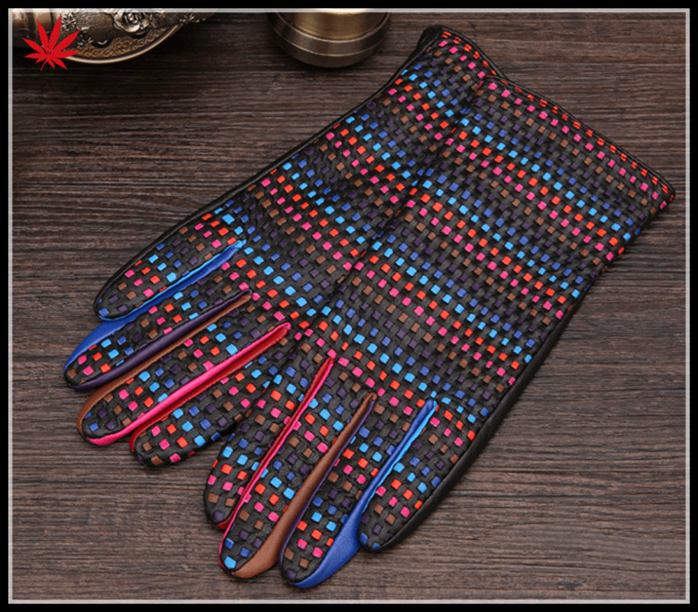 Ladies gift touch screen Color leather stitching gloves