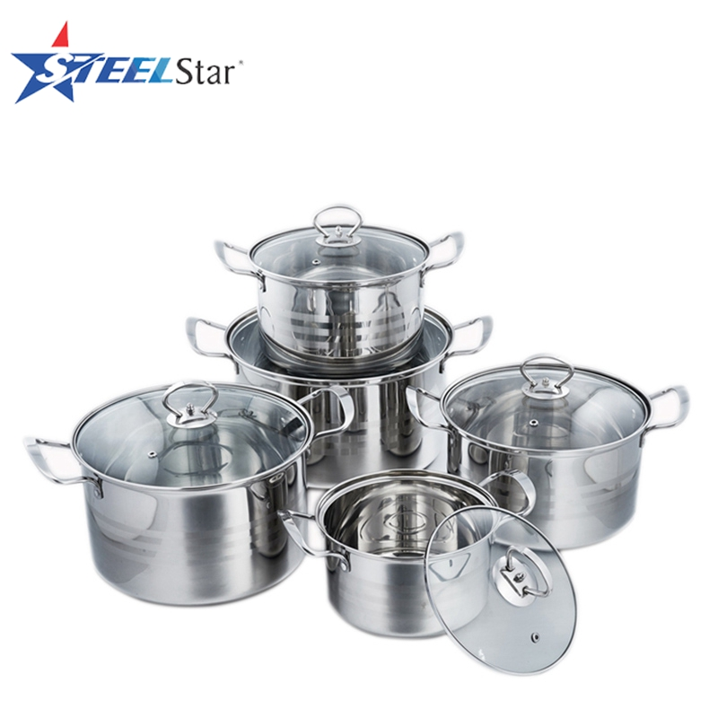 Eco-Friendly kitchen ware 10 pcs stainless steel cookware set with glass lid