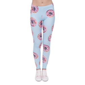 2018 New Fashion Hollow Quick Dry High Elastic Donuts with Pugs Blues printed leggings for female