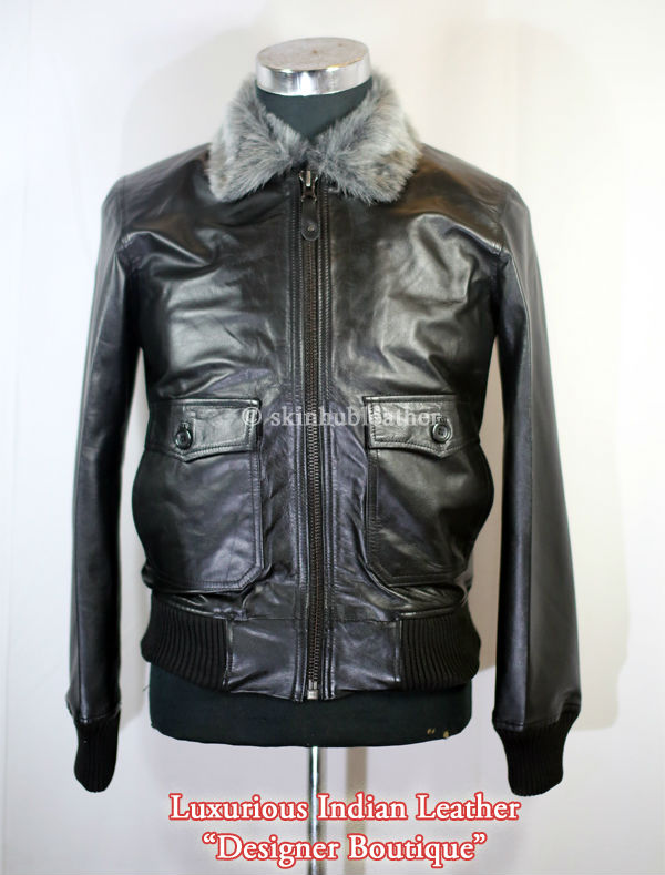 d15856fe4 Mens Army Bomber Jacket With Fur Collar Black Leather - Buy Biker Leather  Jackets,Leather Jackets For Men,Mens Quilted Leather Jacket Product on ...
